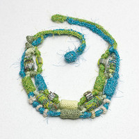 Multi strand necklace in blue and green Beaded statement jewelry, knitted necklace with bamboo beads OOAK
