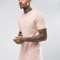 River Island Longline T-Shirt With Curved Hem In Dusty Pink at asos.com