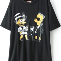 Cartoon Character Print Black Short Sleeve Loose Fitting T-Shirt