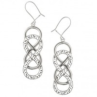 Double Infinity Symbol with Meander ~ Sterling Silver Hook Earrings