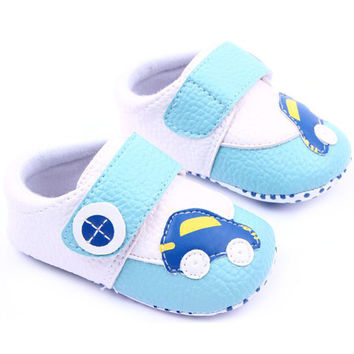 Cute Girl Boy Flower Car Leather Crib Shoes Newborn Baby Soft Sole Toddler Shoes NW