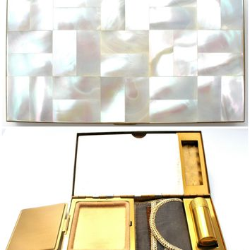 Mother Of Pearl Carryall Purse Clutch Compact