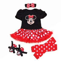 Christmas Newborn Minnie Dress 4pcs/set Baby Girls Clothes Toddler Girl Clothing Set Infant Minnie Mouse Costume Xmas Gifts