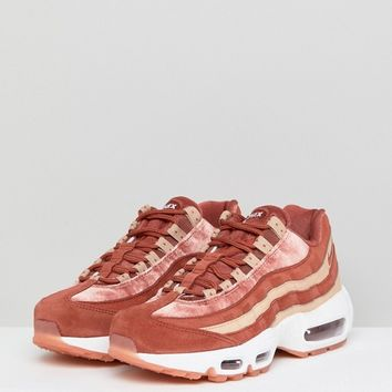Nike Air Max 95 Velvet Trainers In Dusty Peach at asos.com