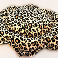 Dog Bed Floor Pillow Fleece Cheetah