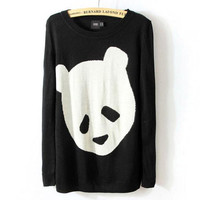 Womens European Fashion Sweet Cute Panda Knit Sweaters Black S M L
