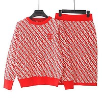 FENDI Autumn Winter Trending Women Stylish Double F Letter Jacquard Knit Sweater Top Skirt Set Two Piece Red