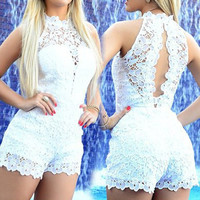 White Open Back Lace Sleeveless Romper