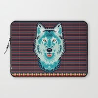 Geometric Wolf Laptop Sleeve by Chobopop