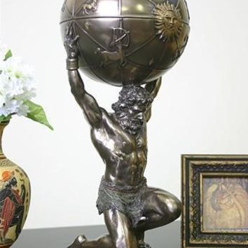 Atlas Holding World Greek Statue, Bronze Finish, Assorted Sizes