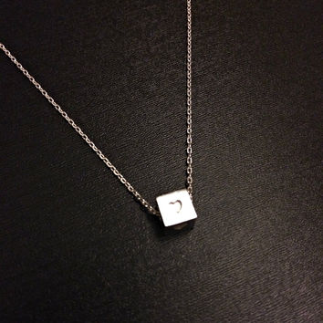Heart Necklace - Minimalist Jewelry Sterling Silver Cube Charm Birthday Anniversary Gift for her