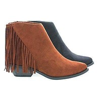 Volley Asymmetric Fringe Western Pointy Toe Ankle Women's Boots