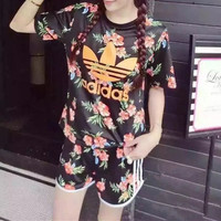 """""""Adidas"""" Women Casual Letter Floral Print Short Sleeve Shorts Set Two-Piece Sportswear"""