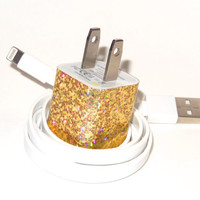 Gold iPhone Charger with Color USB Cable
