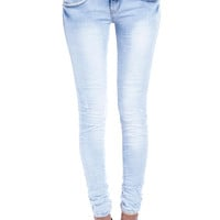 SUPER SKINNY JEANS WITH LEATHER DETAIL