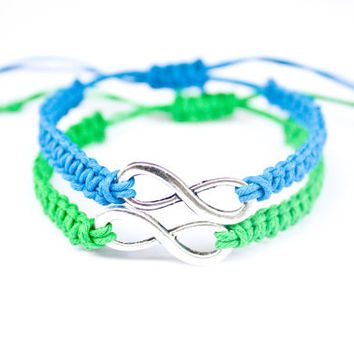 Infinity Couples or Friendship Hemp Bracelets Blue and Green