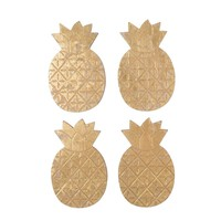 PINEAPPLE GOLD COASTERS SET OF 4