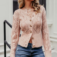 Autumn and winter fashion floral sweater casual hollow open cardigan round neck