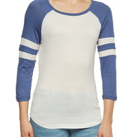 Jersey Top with Atheletic Striped Raglan Sleeves