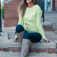 Ribbed Rave Sweater, Lime