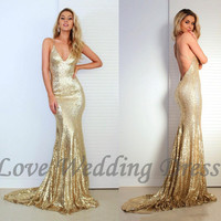 Halter V Neck Evening Dresses Sequin Vestido De Festa Mermaid Prom Dress Floor Length Criss Cross Backless Prom Dresses