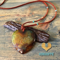 Agate heart shaped necklace, boho hippie fashion