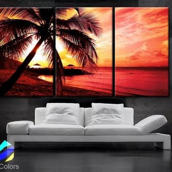"LARGE 30""x 60"" 3 Panels Art Canvas Print beautiful Palm tree Beach Sunset Wall home office decor interior (Included framed 1.5"" depth)"