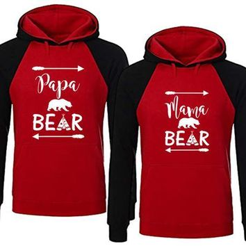 Bear Family Hoodie for Mama Bear & Papa Bear Red Black Pullover Sweater