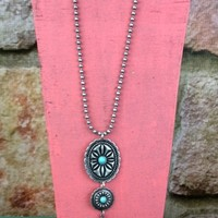 Double Concho Necklace With Feather - NEK515SI