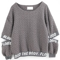 Letter Print Cut-Out Sleeves Sweatshirt - OASAP.com