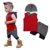 Striped Casual Hooded Clothing Set 2pc Set