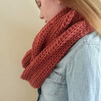 Pre-Fall Sale Crochet Infinity Scarf, Rust Red Infinity Scarf,  Brick Red Chunky infinity scarf, Womens Scarf, Mens Scarf, Unisex Scarf,