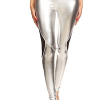 Glitter Mesh + Metallic Silver Workout Leggings
