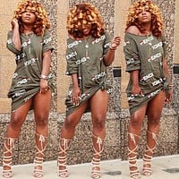FENDI Summer Fashion Women Sexy Print Short Sleeve Dress Army Green