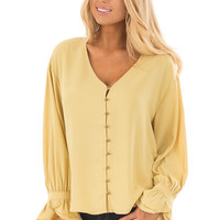 Golden Mist Button Up Blouse with Ruffle Cuffs