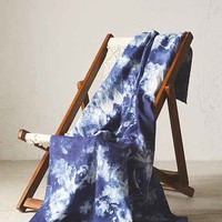 Riverside Tool & Dye Hand-Dyed Blue Starburst Linen Blanket- Assorted One