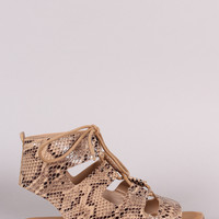Banboo Python Open Toe Lace Up Gladiator Flat Sandal