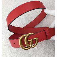 """Inseva """"GUCCI"""" Stylish Women Men Personality Smooth Buckle Leather Belt +Gift Box Black I/A"""