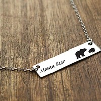 Mama Bear Necklace | Gold Mama Bear Silver Mama Bear