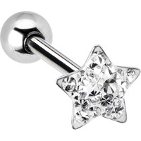 Dome Clear Star Gem Barbell Tongue Ring