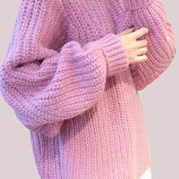 Thick Cozy Pink Knit Sweater