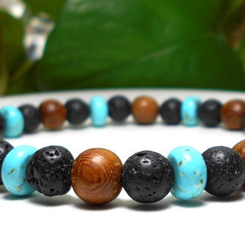 Men's Lava Rock, Wood and Turquoise Howlite Bracelet
