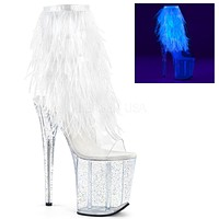 "Flamingo 1017 MMF  Fur Feather Fringe Top  8"" Heel Ankle Boot White UV"
