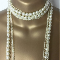 Costume pearl necklace, bridal, wedding, gatsby, string of pearls, birthday, present, ladies jewellery roaring 20s