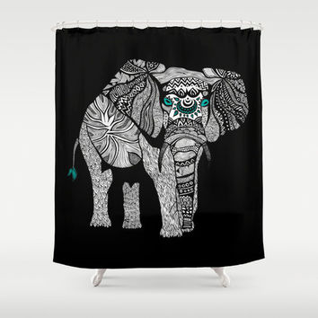 Tribal Black Elephant Shower Curtain for your home decor