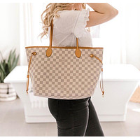 elainse29 Louis Vuitton Two Piece LV Shopping Leather Tote Handbag Shoulder Bag Purse Wallet Set