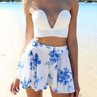 Strapless Top Plus Floral Print Pleated Shorts Two-Piece Sets 9721
