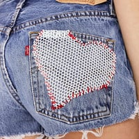 UO Design X Urban Renewal Vintage Levis Heart Patch Short - Urban Outfitters