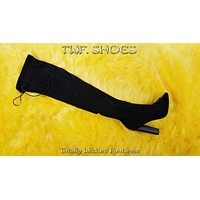 """So Me Kate 2 Open Toe Stretch Stocking OTK Thigh Boot 4"""" Chunky Heel Black FX Suede"""