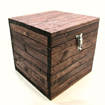 12 Inch Cube Box with Small Slot in Lid - Wooden Advice Box, Collection Box with Lid, Suggestion Box with Lockable Latch - Rustic Wooden Box